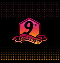Nine years anniversary celebration logotype 9th vector