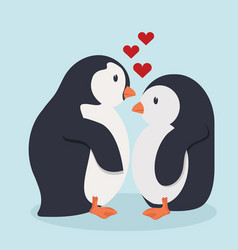 penguin bird cartoon in love vector image