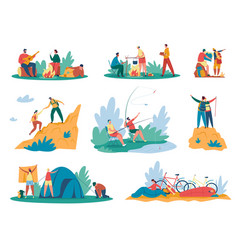 people camping tourists or hikers with backpacks vector image