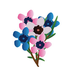 Pink and blue waxflowers with green leafs on a vector
