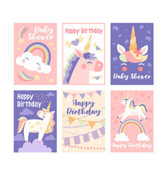 Pretty muted birthday cards with unicorns vector