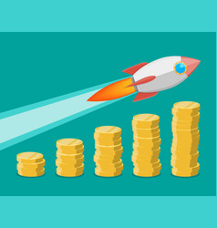 Rocket flying up on coins growth chart vector