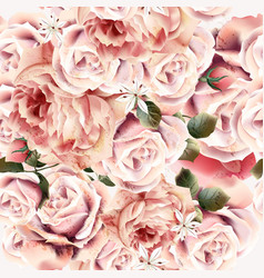 rose pattern with realistic pink light roses vector image
