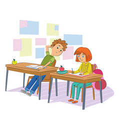 School test cheating flat vector