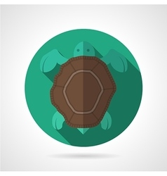 Sea turtle green round icon vector image