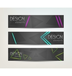 Set of banners with neon design element vector image