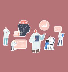 set of stickers doctor neurologist neuroscientist vector image