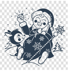 silhouette of santa claus baby vector image