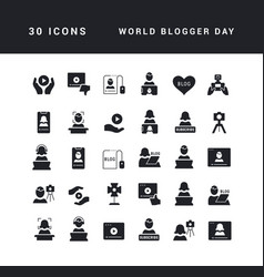 Simple icons world blogger day vector