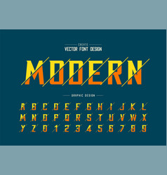 Sliced font and alphabet bold modern typeface vector
