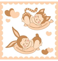 small sleeping children in costumes bunny and cat vector image