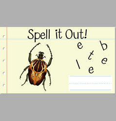 Spell it out beetle vector