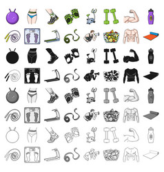 Sport and fitness set icons in cartoon style big vector