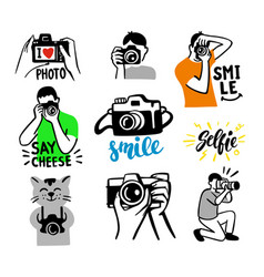 stickers on white background theme photographer vector image