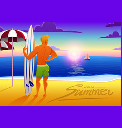 surfer on ocean beach at sunset with surfboard vector image