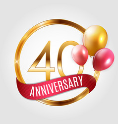 template gold logo 40 years anniversary with vector image