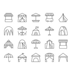 Tent simple black line icons set vector