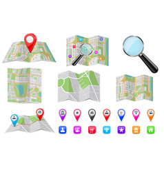 travel tools - city maps location markers vector image