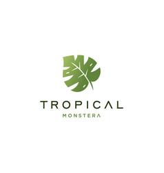 Tropical leaf logo design vector
