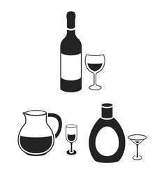 Types of alcohol black icons in set collection for vector