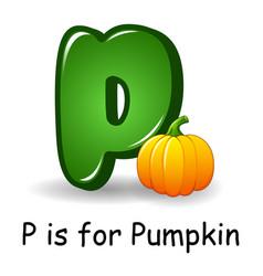 Vegetables alphabet p is for pumpkins vector