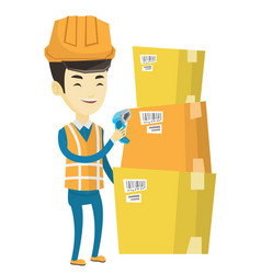 Warehouse worker scanning barcode on box vector
