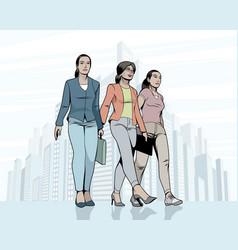 Women walking down the street vector