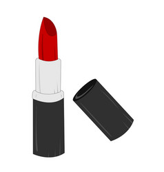 womens red lipstick with black cup vector image