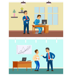 Worker control and bad job office work routine vector