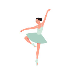 Young ballerina in tutu and pointe shoes dancing vector