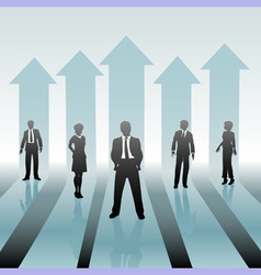business people team on move up arrows vector image vector image