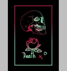 death skull flower frame vector image