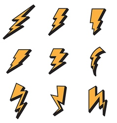 Lightning bolt icons vector image