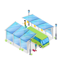 urban bus stop isometric 3d icon vector image vector image