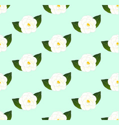 white camellia flower seamless on green mint vector image