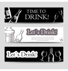 Drink party horizontal banners set vector image vector image