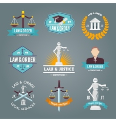 Law labels icons set vector image vector image