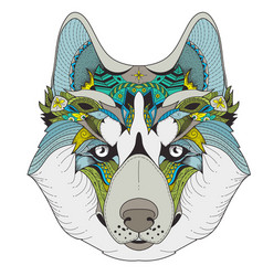 poster with zenart patterned husky vector image vector image