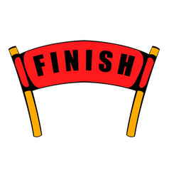 red ribbon in finishing line icon icon cartoon vector image