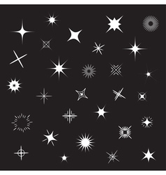 Stars Sparkles white symbol set Black background vector image
