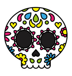 sugar skull colorful floral day of the dead vector image
