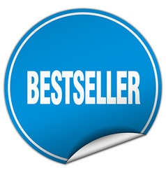 bestseller round blue sticker isolated on white vector image