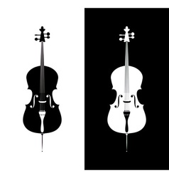 Cello in black and blue colors vector image