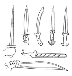 Greek Swords vintage engraved vector image vector image