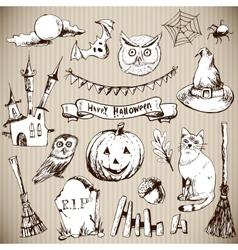 Set of Doodles Design Halloween Elements vector image