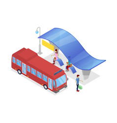 downtown bus stop isometric 3d icon vector image