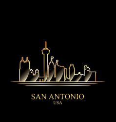 Gold silhouette of san antonio on black background vector