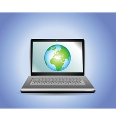 laptop with earth globe vector image vector image