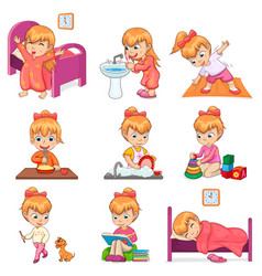 little girl does daily routine set vector image