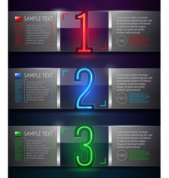 Metal and glass banners with neon luminous numbers vector image